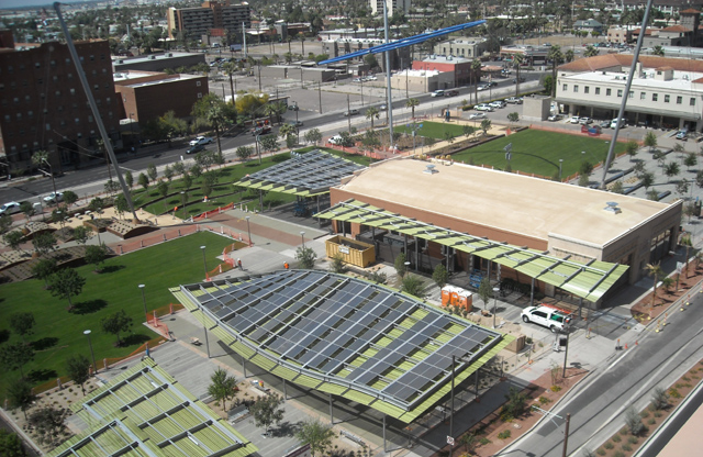 This City of Phoenix Urban Park is the application of PV as art in an long term institutional design.